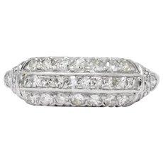 Art Deco 0.80 CTW Diamond Platinum Stackable Ring