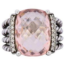 David Yurman Morganite Diamond Sterling Silver Large Cable Ring