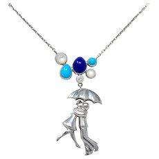 Van Cleef & Arpels Diamond Lapis Turquoise 18 Karat White Gold Romance A Paris Necklace
