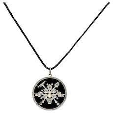 Belle Époque Diamond Onyx Platinum-Topped 18 Karat Gold French Flower Garden Pendant Necklace