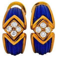 Boucheron Vintage 0.51 CTW Diamond Lapis 18 Karat Gold French Ear-Clip Earrings