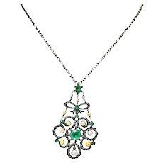 Georgian 3.50 CTW Foil Backed Emerald Pearl Diamond Silver Pendant Necklace
