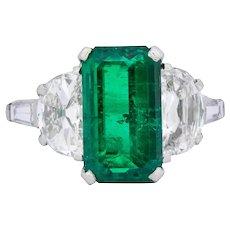 J. E. Caldwell Art Deco 5.96 CTW Colombian Emerald Diamond Platinum Ring AGL