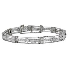 Art Deco 3.85 CTW Old European Diamond Platinum Fancy Link Bracelet