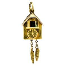Antique Enamel 14 Karat Gold German Cuckoo Clock Charm