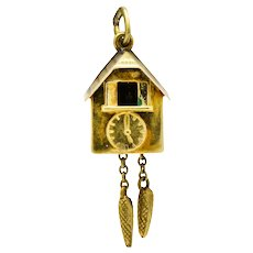 Circa 1905 Antique Enamel 14 Karat Gold German Cuckoo Clock Charm