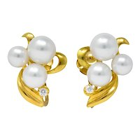 Mikimoto Cultured Pearl Diamond 18 Karat Gold Screwback Earrings