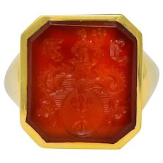 Charles Green & Son Vintage English Carnelian Intaglio 18 Karat Gold Unisex Signet Ring
