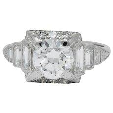 Art Deco 2.29 CTW Diamond Platinum Engagement Ring GIA