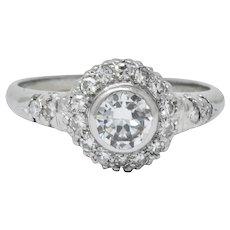 Retro 0.80 CTW Diamond Platinum Cluster Engagement Ring