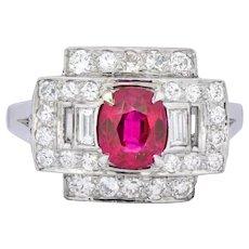 Retro 2.25 CTW No Heat Burma Ruby Diamond Platinum Ring GIA