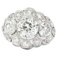 Art Deco 5.60 CTW Old European Cut Diamond Platinum Alternative Engagement Ring