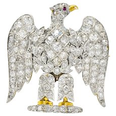 Edwardian 4.50 CTW Diamond Ruby Platinum-Topped 14 Karat Gold Royal Scots Greys Dragoon Waterloo Eagle Laurel Brooch