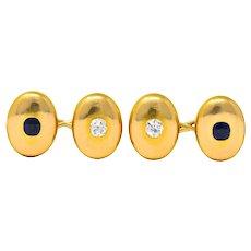 Tiffany & Co. Victorian 3.25 CTW Diamond Sapphire 14 Karat Gold Cufflinks