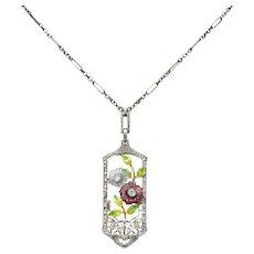 Krementz Art Nouveau Diamond Garnet Rock Crystal Enamel 14 Karat White Gold Pendant Necklace