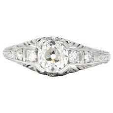 Art Deco 0.70 CTW Diamond Platinum Engagement Ring