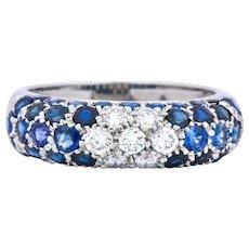 Contemporary Italian 3.85 CTW Diamond Sapphire 18 Karat White Gold Ring
