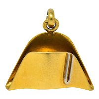 Art Nouveau 18 Karat Two-Tone Gold French Napoleonic Naval Hat Charm