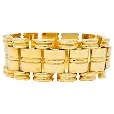 Retro Tiffany & Co. 14 Karat Gold Substantial Wide Ribbed Link Bracelet