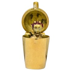 Art Nouveau Enamel 14 Karat Gold 3D Devil Martini Shaker Charm
