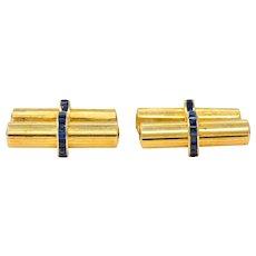 Tiffany & Co Vintage Sapphire 14 Karat Gold Cufflinks