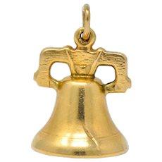Art Nouveau 14 Karat Gold Liberty Bell Articulated Clapper Charm