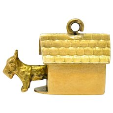 Art Nouveau 14 Karat Gold Articulated Scottish Terrier Dog House Charm