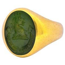 Tiffany & Co. Victorian Intaglio Jade 18 Karat Gold Lion Unisex Signet Ring