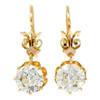 Victorian 5.06 CTW Old European Cut Diamond Drop 14 Karat Gold Earrings GIA