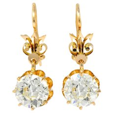 Victorian 5.06 CTW Old European Cut Diamond Drop 14 Karat Gold Earrings GIA