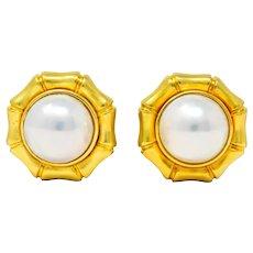 Tiffany & Co. Mabe Pearl 18 Karat Gold Bamboo Earrings