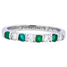 Tiffany & Co. Contemporary 0.24 CTW Diamond Emerald Platinum Anniversary Band Ring