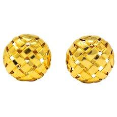 Tiffany & Co. 1995 18 Karat Gold Woven Ear-Clip Earrings