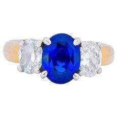 Contemporary 3.94 CTW Diamond Sapphire Platinum 14 Karat Gold Three Stone Ring GIA