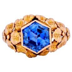 Arts & Crafts 1910 No Heat Hexagonal Sapphire 14 Karat Rose Gold Foliate Ring GIA