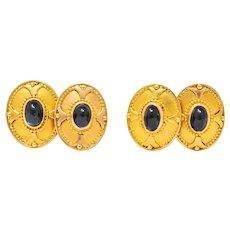 Frank Gardner Hale Arts & Crafts 4.75 CTW Sapphire Men's 14 Karat Gold Cufflinks