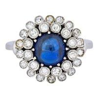 1950's Mid-Century 2.66 CTW No Heat Sapphire Diamond 18 Karat Gold Cluster Ring AGL