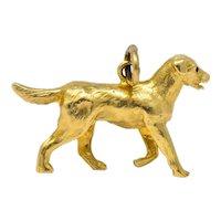 Retro 1950's Enamel 14 Karat Gold Realistic Dog Charm