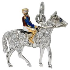 1920's Edwardian Diamond Sapphire Enamel Gold Platinum Racehorse Charm