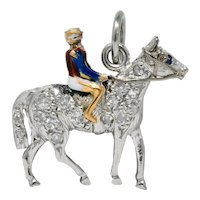 Edwardian Ca. 1920 Diamond Sapphire Enamel Gold Platinum Jockey On Horse Charm