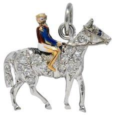 Edwardian Ca. 1920 Diamond Sapphire Enamel Gold Platinum Jockey On Horse Charm