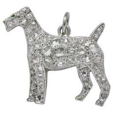 Edwardian Ca. 1915 0.50 CTW Diamond Platinum Airedale Terrier Dog Charm