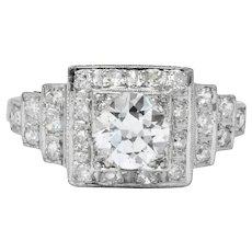Art Deco 1930 1.22 CTW Diamond Platinum Engagement Ring GIA