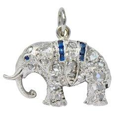 Art Deco 1920's 0.30 CTW Diamond Platinum Lucky Elephant Charm