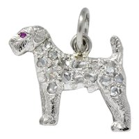 J.E. Caldwell & CO. Edwardian Diamond Ruby Platinum Fancy Dog Charm Circa 1920