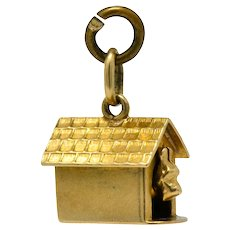 Art Nouveau 14 Karat Gold Articulated Scottish Terrier Dog House Charm