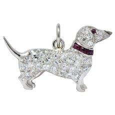 Art Deco 1920's 0.25 CTW Diamond Ruby Platinum Dachshund Dog Charm