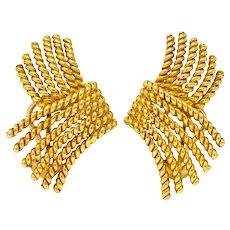 Tiffany & Co. Schlumberger 18 Karat Gold Strand Ear-Clip Earrings