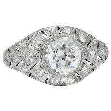 Edwardian 1.40 CTW Old European Diamond Platinum Engagement Ring GIA Circa 1910