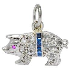 Edwardian 1920's Diamond Sapphire Ruby Platinum Pig Charm